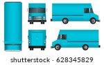 truck template. cargo van... | Shutterstock .eps vector #628345829