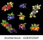 set fruits watercolor painting  ... | Shutterstock . vector #628352069