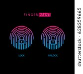 fingerprint touch id icon with... | Shutterstock .eps vector #628359665