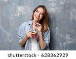 beautiful young woman with... | Shutterstock . vector #628362929
