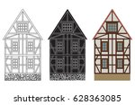 old german house with wooden... | Shutterstock .eps vector #628363085