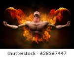 power athletic man with great... | Shutterstock . vector #628367447