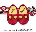 baby shower isolated vector... | Shutterstock .eps vector #628369325