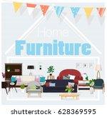 home furniture. furniture.... | Shutterstock .eps vector #628369595