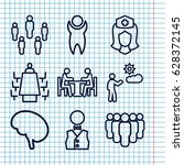 set of 9 staff outline icons... | Shutterstock .eps vector #628372145