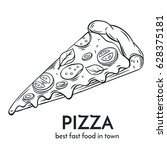 hand drawn pizza icon. vector... | Shutterstock .eps vector #628375181