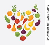 vegetables poster in heart... | Shutterstock .eps vector #628376849