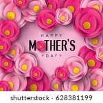 happy mother's day calligraphy... | Shutterstock .eps vector #628381199