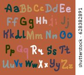 hand drawn alphabet. brush... | Shutterstock .eps vector #628382891