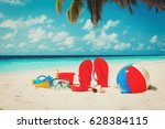 colored slippers  toys and... | Shutterstock . vector #628384115