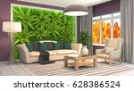 interior living room. 3d... | Shutterstock . vector #628386524
