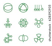set of 9 physics outline icons... | Shutterstock .eps vector #628392935