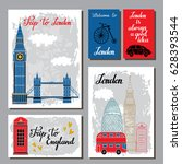 london  england travel cards.... | Shutterstock .eps vector #628393544