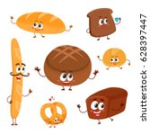 set of funny bread  bakery... | Shutterstock .eps vector #628397447