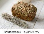 pumpkin seed bread with oregano ... | Shutterstock . vector #628404797