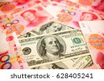 chinese yuan note and u.s.... | Shutterstock . vector #628405241