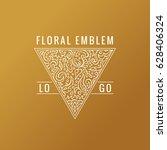 calligraphic triangle logo....   Shutterstock .eps vector #628406324