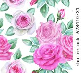 seamless floral pattern with... | Shutterstock . vector #628410731