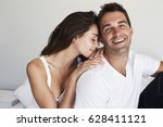 lucky guy happy with girl in... | Shutterstock . vector #628411121