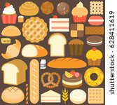 bakery product icon set in flat ... | Shutterstock .eps vector #628411619