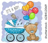 greeting card its a boy with... | Shutterstock .eps vector #628412069