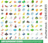 100 sunshine icons set in... | Shutterstock .eps vector #628415855