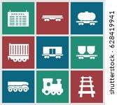 train icons set. set of 9 train ... | Shutterstock .eps vector #628419941
