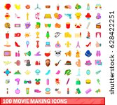 100 movie making icons set in... | Shutterstock .eps vector #628422251
