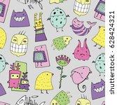 vector halloween pattern with... | Shutterstock .eps vector #628424321