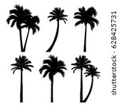 vector set of tropical palm... | Shutterstock .eps vector #628425731