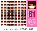 vector set 81 social media... | Shutterstock .eps vector #628431401