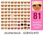 vector set 81 social media... | Shutterstock .eps vector #628431455