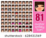 vector set 81 social media... | Shutterstock .eps vector #628431569