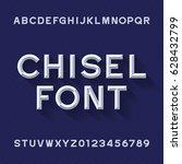 chisel alphabet vector font.... | Shutterstock .eps vector #628432799