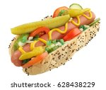 chicago hot dog isolated | Shutterstock . vector #628438229