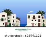 mediterranean houses  palms and ... | Shutterstock .eps vector #628441121