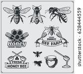 set of honey labels  badges and ... | Shutterstock .eps vector #628444559