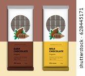 organic dark and milk chocolate ...   Shutterstock .eps vector #628445171
