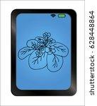 flower on background plate.... | Shutterstock .eps vector #628448864