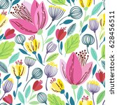 vector floral pattern in doodle ... | Shutterstock .eps vector #628456511