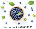 fresh organic blueberries in... | Shutterstock . vector #628459955