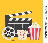 big movie reel open clapper... | Shutterstock . vector #628460651