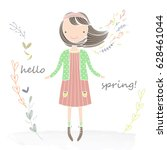 illustration  little girl with... | Shutterstock .eps vector #628461044
