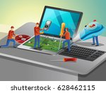 antivirus agents fixing... | Shutterstock . vector #628462115