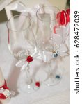 Two Wedding Glass Decorated...