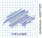map of switzerland  blue sketch ... | Shutterstock .eps vector #628477259