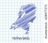 map of netherlands  blue sketch ... | Shutterstock .eps vector #628477271