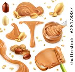 peanut butter. 3d vector icon... | Shutterstock .eps vector #628478837