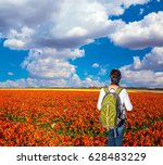 woman   tourist with backpack... | Shutterstock . vector #628483229