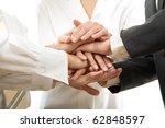 business people hands on top of ... | Shutterstock . vector #62848597